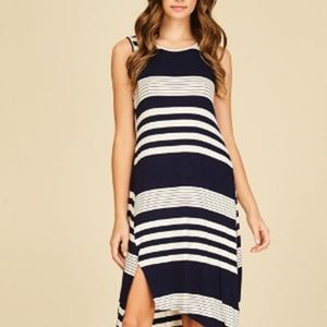 Dresses & Skirts - Off White/ Navy stripe tank midi dress